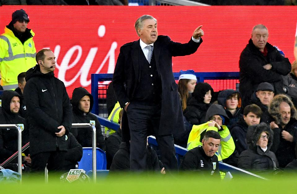 Everton manager Carlo Ancelotti gestures on the touchline during the Premier League match at Goodison Park, Liverpool. (Photo by Anthony Devlin/PA Images via Getty Images)