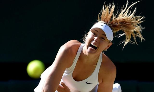 """<span class=""""element-image__caption"""">Maria Sharapova hopes a display of her old power might help her reach the French Open.</span> <span class=""""element-image__credit"""">Photograph: Toby Melville/Reuters</span>"""