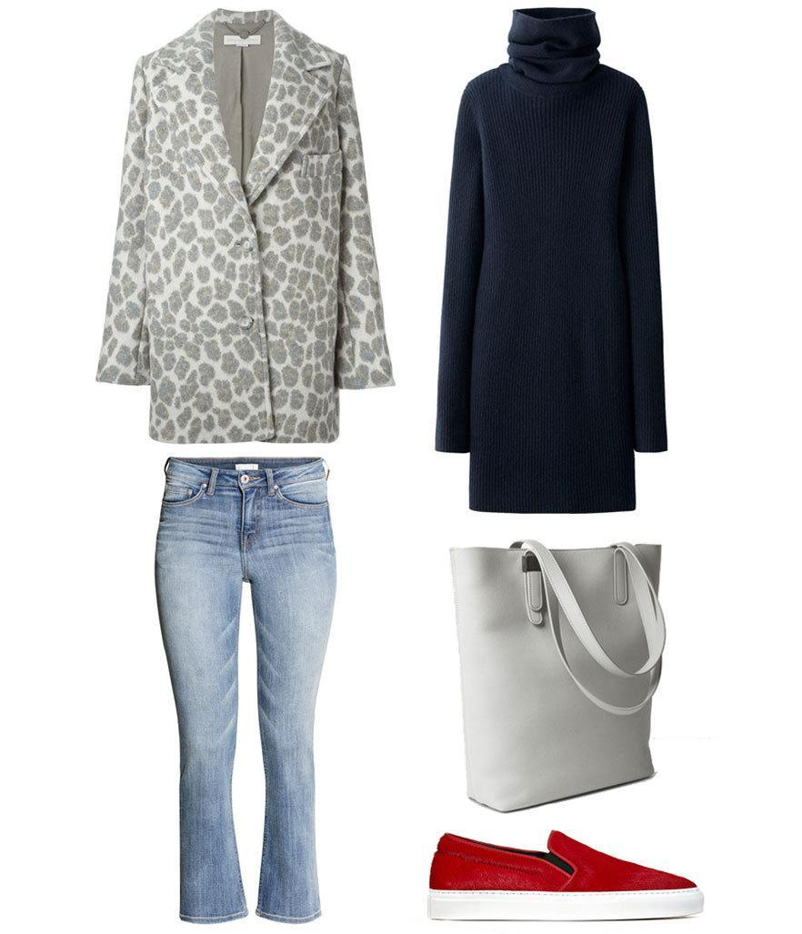 <p>To wear on the weekend, mellow out your spots by keeping the color palette cool gray, the shape cocoon-like, and the rest of the outfit as easy as rolling out of bed at noon and hitting brunch.</p>