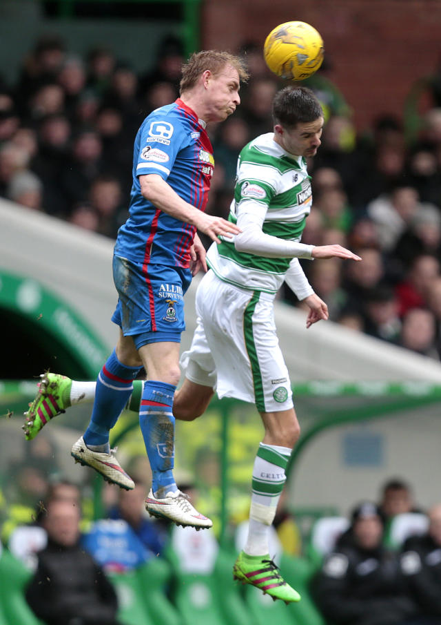 "Football Soccer - Celtic v Inverness Caledonian Thistle - Ladbrokes Scottish Premiership - Celtic Park - 20/2/16 Celtic's Mikael Lustig (R) in action with Inverness Caledonian Thistle's Carl Tremarco (L) Action Images via Reuters / Graham Stuart Livepic EDITORIAL USE ONLY. No use with unauthorized audio, video, data, fixture lists, club/league logos or ""live"" services. Online in-match use limited to 45 images, no video emulation. No use in betting, games or single club/league/player publications. Please contact your account representative for further details."