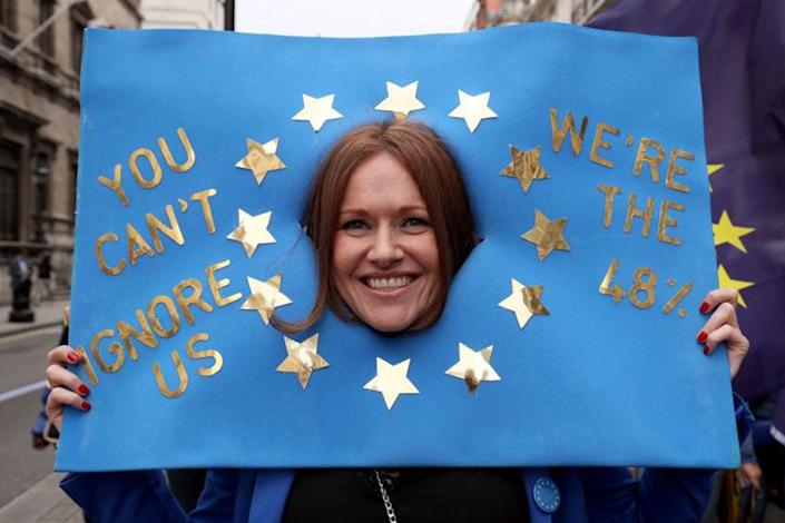 Pro-EU protesters in a March for Europe rally in central London (PA)