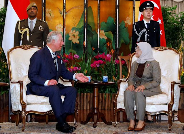 Britain's Prince Charles meets Singapore's President Halimah Yacob at the Istana in Singapore October 31, 2017. REUTERS/Edgar Su