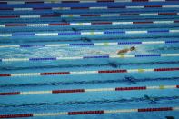 Katie Ledecky participates in the women's 1500 freestyle during wave 2 of the U.S. Olympic Swim Trials on Wednesday, June 16, 2021, in Omaha, Neb.(AP Photo/Jeff Roberson)