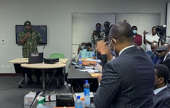 Brigadier General Ahmed Taiwo speaks during a judicial panel in Lagos