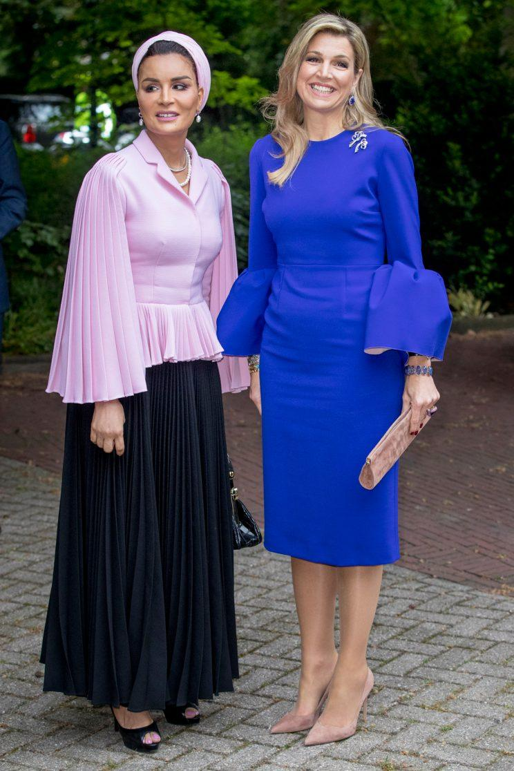 Sheikha Moza bint Nasser of Qatar and Queen Maxima of The Netherlands attend the Seminar On Protection & Education In Conflict Zones at the The Hague Institute for Global Justice on May 18, 2017 in The Hague, Netherlands. (Photo: Getty Images)