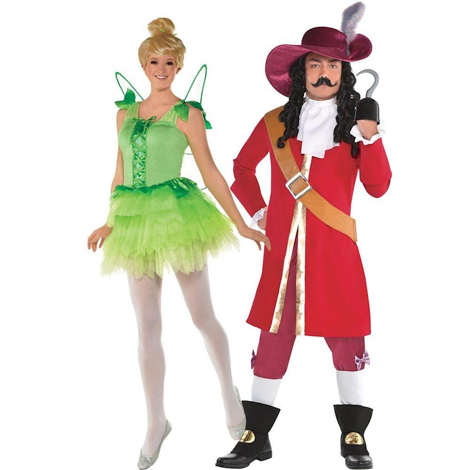 """<p>partycity.com</p><p><a href=""""https://www.partycity.com/adult-tinker-bell-and-captain-hook-couples-costumes---peter-pan-G789295.html"""" rel=""""nofollow noopener"""" target=""""_blank"""" data-ylk=""""slk:Shop Now"""" class=""""link rapid-noclick-resp"""">Shop Now</a></p><p>Take a trip to Neverland this Halloween with this spot-on Tinker Bell and Captain Hook look. </p>"""