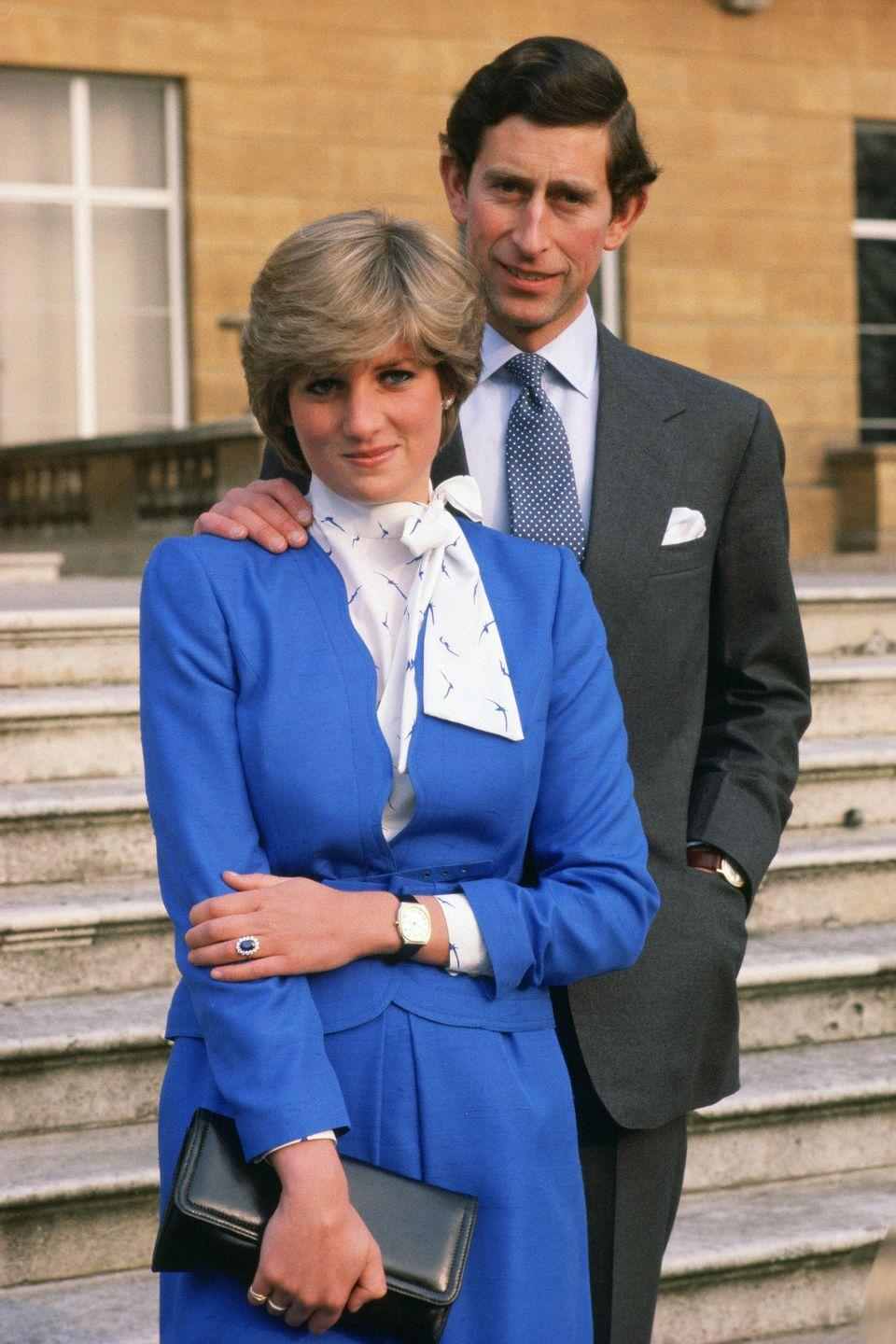 <p>At an official photo-call to announce his engagement to Diana Spencer at Buckingham Palace. </p>