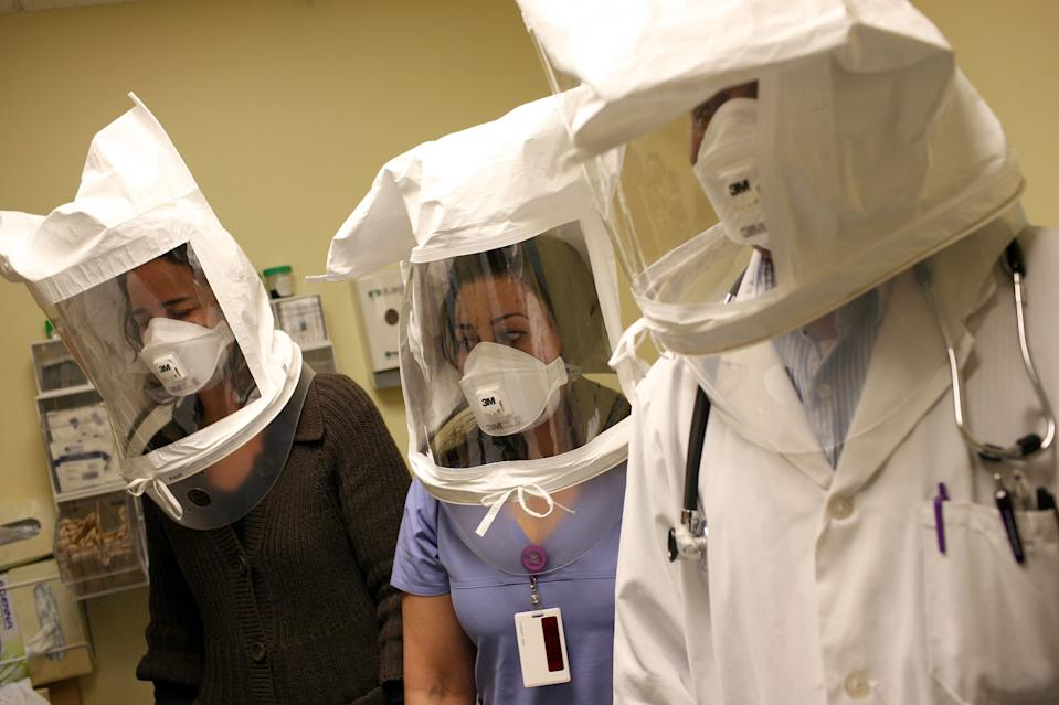 Medical experts encouraged others to protect their eyes as well as mouth and nose from the virus.