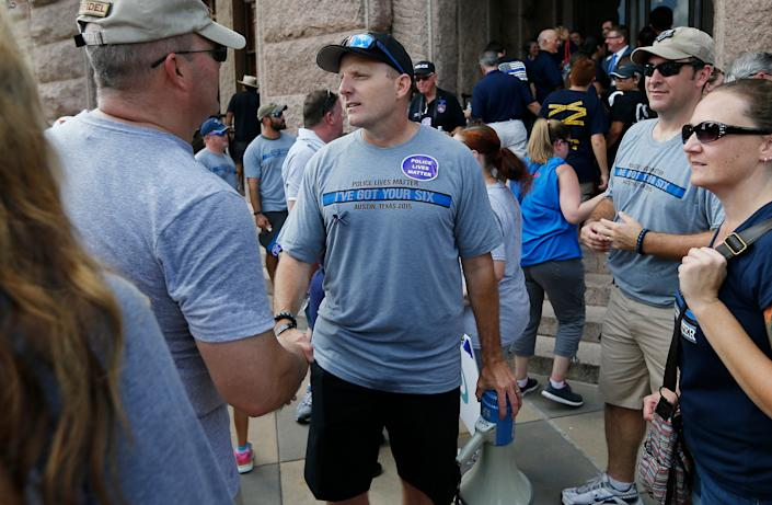 In Sept. 2015, Robert Chody organized a Police Lives Matter rally to oppose a Black Lives Matter march at the Texas Capitol on the same day.
