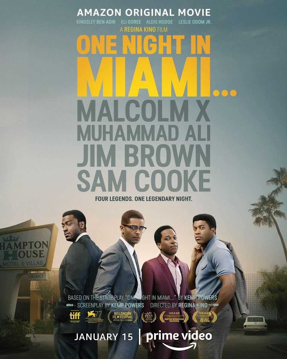 "<p>From director <strong>Regina King</strong>, <em>One Night in Miami</em> highlights a fictionalized meeting of icons Malcom X (<strong>Kingsley Ben-Adir</strong>), Sam Cooke (<strong>Leslie Odom Jr.</strong>), Jim Brown (<strong>Aldis Hodge</strong>), and Muhammad Ali (<strong>Eli Goree</strong>) in 1964, after Ali's title win over Sonny Liston (<strong>Aaron D. Alexander</strong>). <em>One Night in Miami </em>will first be available in theaters on Christmas day and will later debut on Amazon Prime Video starting January 15, 2021.<strong><br></strong></p><p><strong>Rating: </strong>R</p><p><strong>How to Watch:</strong></p><p><a class=""link rapid-noclick-resp"" href=""https://go.redirectingat.com?id=74968X1596630&url=https%3A%2F%2Fwww.fandango.com%2Fone-night-in-miami-223673%2Fmovie-times&sref=https%3A%2F%2Fwww.goodhousekeeping.com%2Flife%2Fentertainment%2Fg35030712%2Fmovies-coming-out-on-christmas-day-2020%2F"" rel=""nofollow noopener"" target=""_blank"" data-ylk=""slk:BUY THEATER TICKETS"">BUY THEATER TICKETS</a></p>"