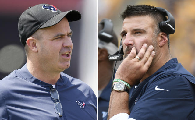 FILE - From left are 2018 file photos showing Houston Texans head coach Bill O'Brien and Tennessee Titans head coach Mike Vrabel. Vrabel spent the past four seasons working as an assistant to Houston coach O'Brien, including as defensive coordinator in 2017. Now the men square off Sunday, Sept. 16, in the first of two games as rivals now that Vrabel is a rookie head coach with the Titans. (AP Photo/File)