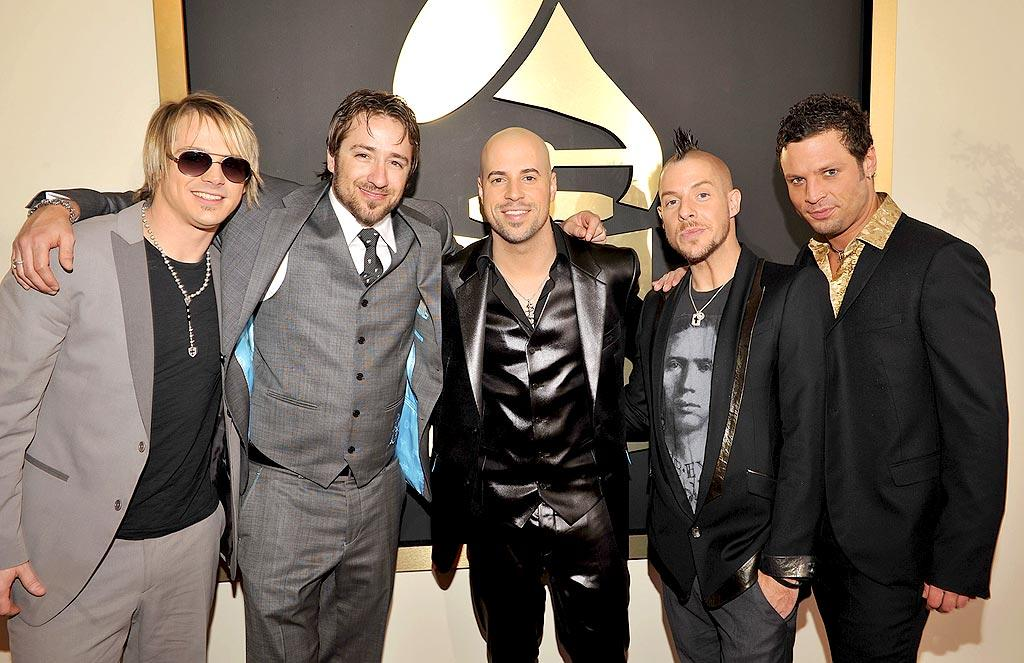"""""""American Idol's"""" Chris Daughtry has a lot to be proud considering that he and his band, Daughtry, are nominated for four Grammys; however, he should be extremely embarrassed of his leather (or is that pleather?) suit. Did he forget to wear a shirt, too? Lester Cohen/<a href=""""http://www.wireimage.com"""" target=""""new"""">WireImage.com</a> - September 16, 2008"""