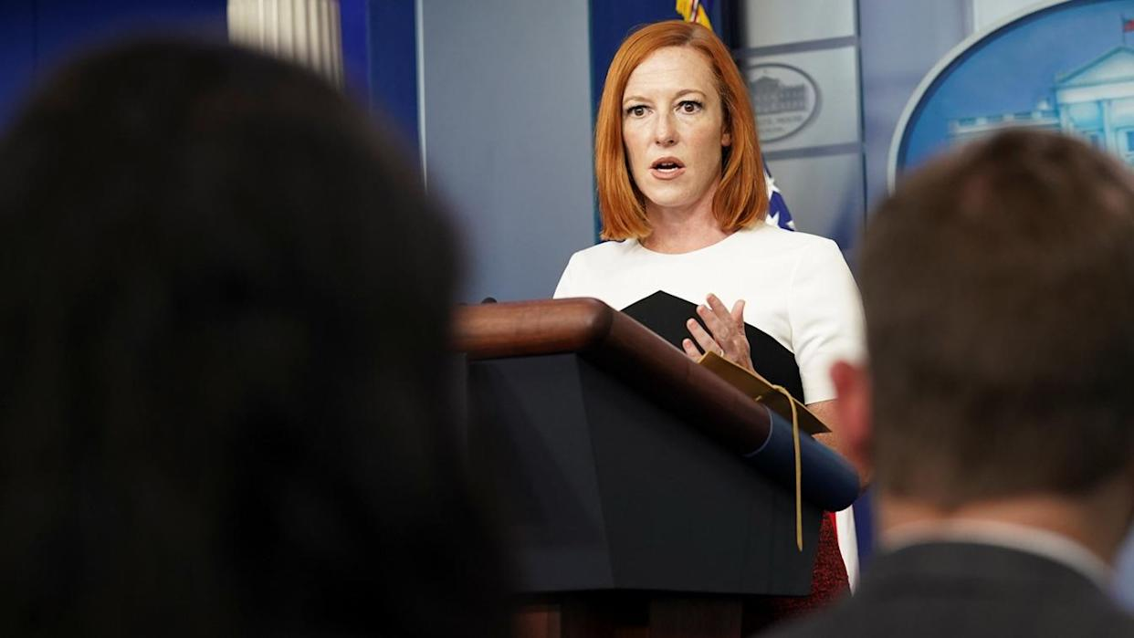 Jen Psaki, the White House press secretary, holds a press briefing at the White House on Wednesday.