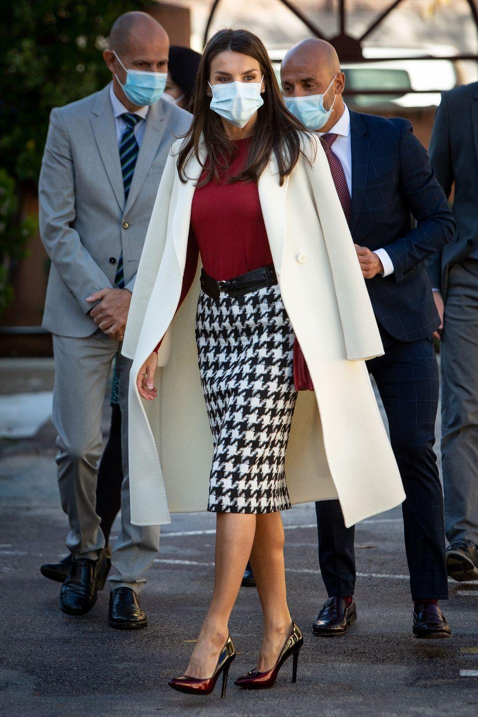 <p><strong>10 November </strong>Queen Letizia of Spain looked chic in a dogtooth-printed skirt and heels whild carrying out royal duties in Madrid. </p>