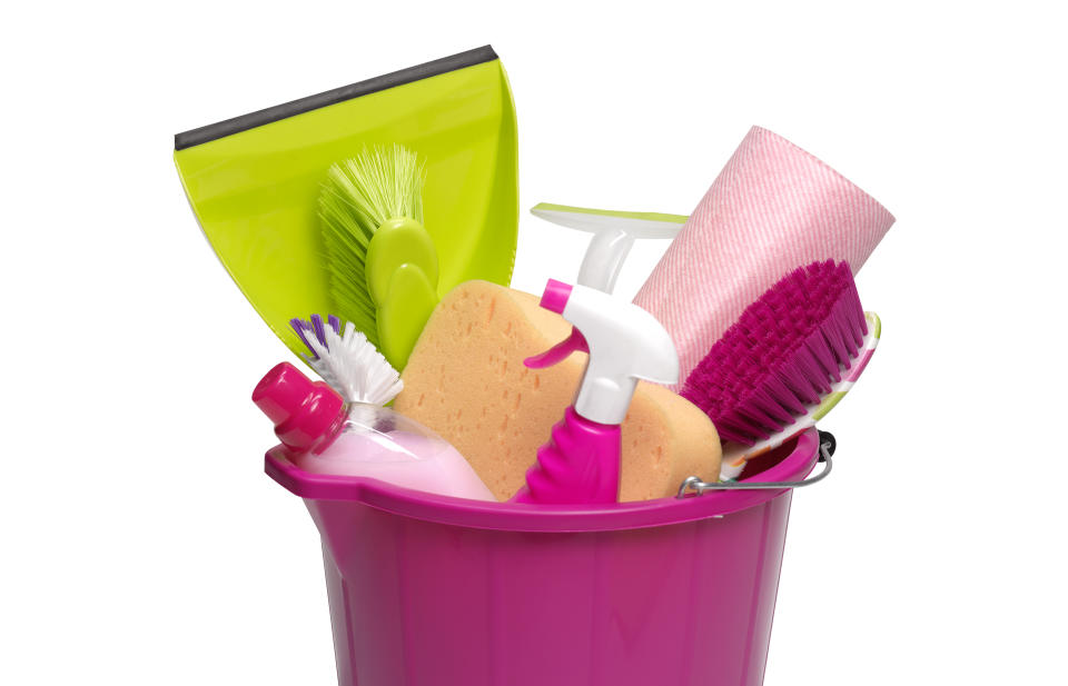 Pink spring cleaning bucket