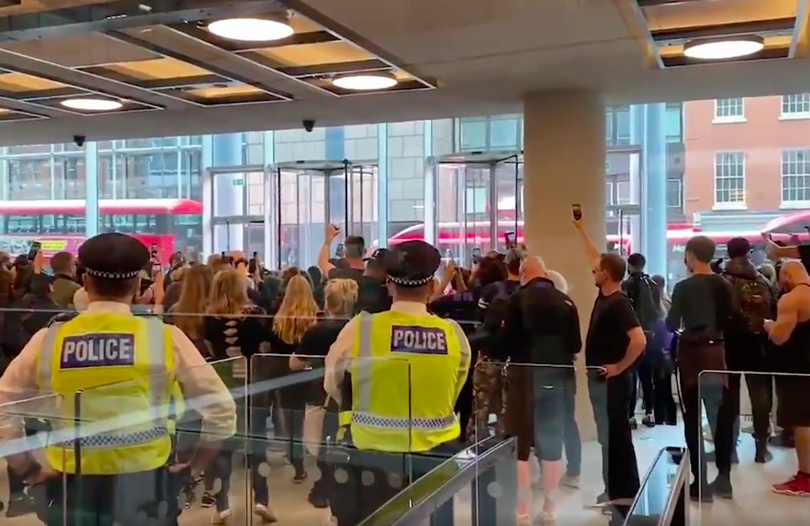 Dozens of protesters entered the ITN building in London. (Carl Nasman/Twitter)