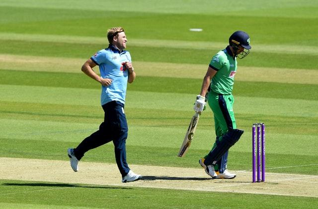 David Willey, left, was back in the England side for the first time since last year's World Cup (Mike Hewitt/PA)
