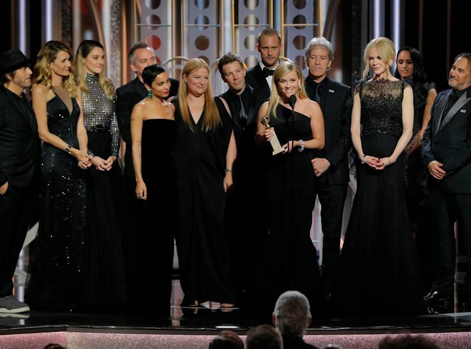 """The cast and crew of """"Big Little Lies"""" at the 75th Golden Globes Awards. (Photo: NBC)"""