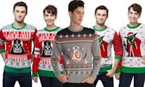 """<p>Wear these bright knitted pullovers, you will. <strong>Buy <a rel=""""nofollow noopener"""" href=""""http://www.thinkgeek.com/product/kgll/"""" target=""""_blank"""" data-ylk=""""slk:here"""" class=""""link rapid-noclick-resp"""">here</a>, <a rel=""""nofollow noopener"""" href=""""http://www.boxlunch.com/product/star-wars-bb-8-ugly-holiday-sweater/11097841.html#q=christmas%2Bsweater&start=10"""" target=""""_blank"""" data-ylk=""""slk:here"""" class=""""link rapid-noclick-resp"""">here</a>, and <a rel=""""nofollow noopener"""" href=""""http://www.thinkgeek.com/product/kglk/"""" target=""""_blank"""" data-ylk=""""slk:here"""" class=""""link rapid-noclick-resp"""">here</a></strong> </p>"""