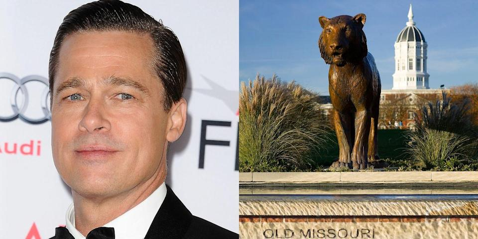 <p><strong>University of Missouri</strong></p><p>Pitt majored in journalism with a focus in advertising at the University of Missouri. He also joined the Sigma Chi fraternity during his time there. With only two weeks left before earning his degree, Pitt left the university and moved to Los Angeles to pursue an acting career.<br></p>