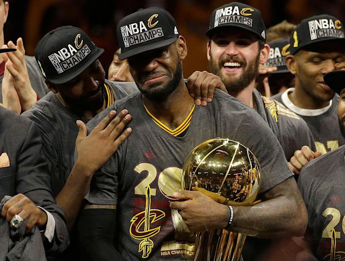 <p>JUN.19, 2016 — Cleveland Cavaliers forward LeBron James, center, celebrates with teammates after Game 7 of basketball's NBA Finals against the Golden State Warriors in Oakland, Calif.. The Cavaliers won 93-89. (Marcio Jose Sanchez/AP) </p>