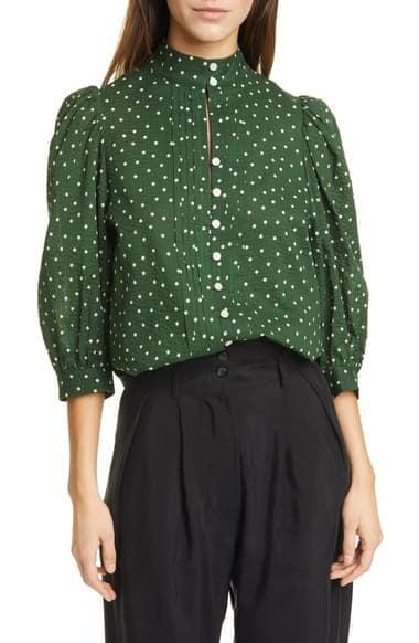 <p>This <span>Smythe Frontier Dot Puff Sleeve Cotton Blouse</span> ($158, originally $395) is a steal.</p>