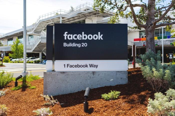 A Facebook sign on the company's campus.