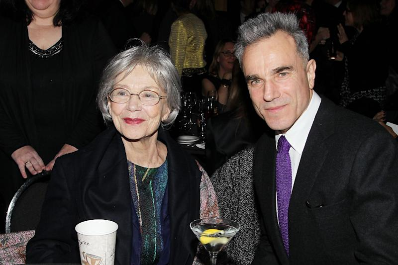"""This Jan. 7, 2013 photo released by Starpix shows French actress Emmanuelle Riva from """"Amour"""", left, with actor Daniel Day Lewis from """"Lincoln,"""" at the New York Film Critics Circle awards dinner at the Crimson Club in New York. (AP Photo/Starpix, Dave Allocca)"""
