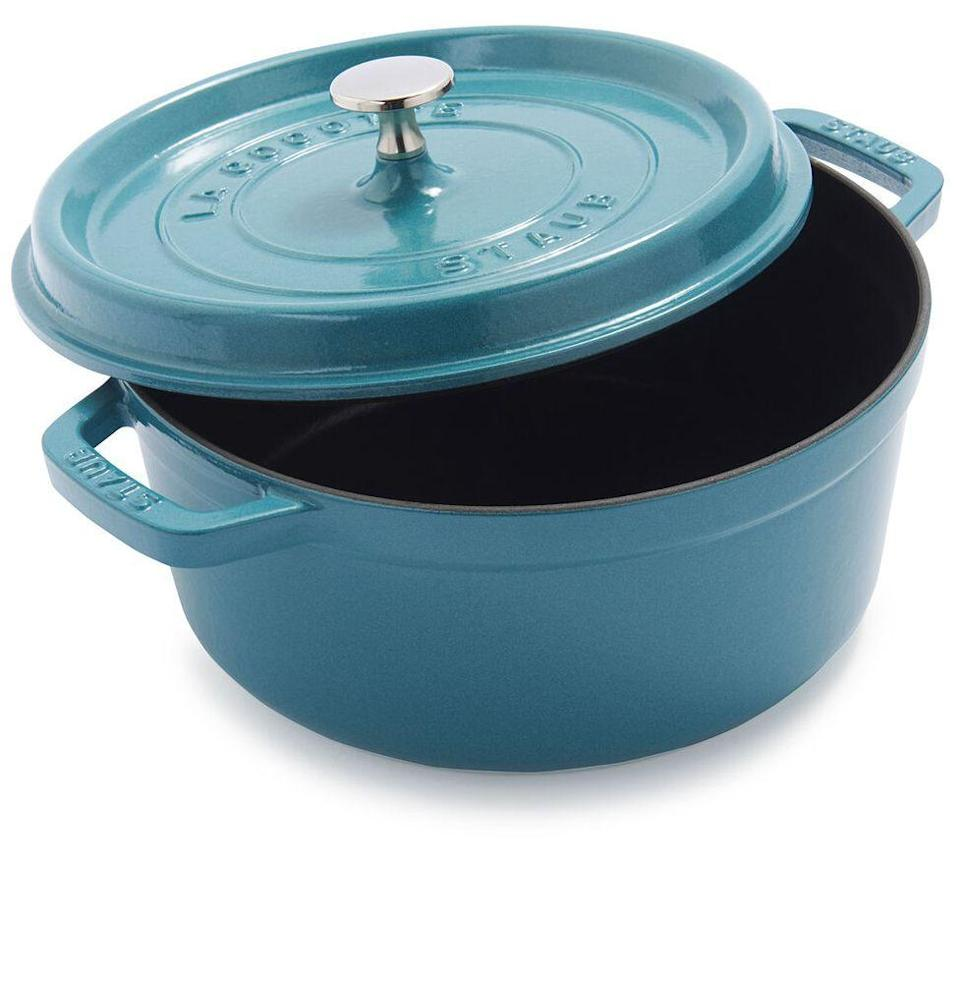 """<p><strong>Staub</strong></p><p>surlatable.com</p><p><strong>$99.96</strong></p><p><a href=""""https://go.redirectingat.com?id=74968X1596630&url=https%3A%2F%2Fwww.surlatable.com%2Fstaub-4qt-round-cocotte%2FPRO-298951.html&sref=https%3A%2F%2Fwww.esquire.com%2Flifestyle%2Fg34787692%2Fblack-friday-sales-for-women-wives-2020%2F"""" rel=""""nofollow noopener"""" target=""""_blank"""" data-ylk=""""slk:Buy"""" class=""""link rapid-noclick-resp"""">Buy</a></p><p><del>$429.99</del> <strong>($330 off for Black Friday)</strong></p><p>For the wife who's been reading Dutch oven recipes before bed every night. Staub's design is timeless, and you can choose one of 11 colors of ceramic finish. </p>"""
