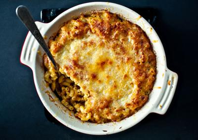 "<div class=""caption-credit""> Photo by: Photo by Ashley Rodriguez</div><div class=""caption-title""></div><b>Pumpkin Mac and Cheese</b> <br> Stir canned pumpkin and grated sharp cheddar cheese into a béchamel sauce. Toss with cooked elbow macaroni and pour into a buttered baking dish. Top with more grated cheese and bake in a 375° oven until bubbling and browned on top, about 20 minutes <br> <i>RECIPE BY Teri Tsang Barrett</i>"