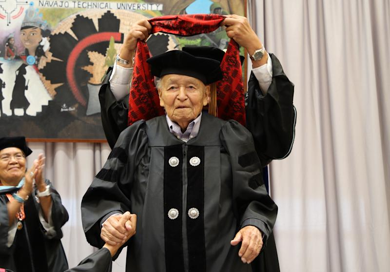 State Sen. John Pinto was named the first recipient of an honorary doctoral degree from Navajo Technical University on May 17, 2019, in Crownpoint.