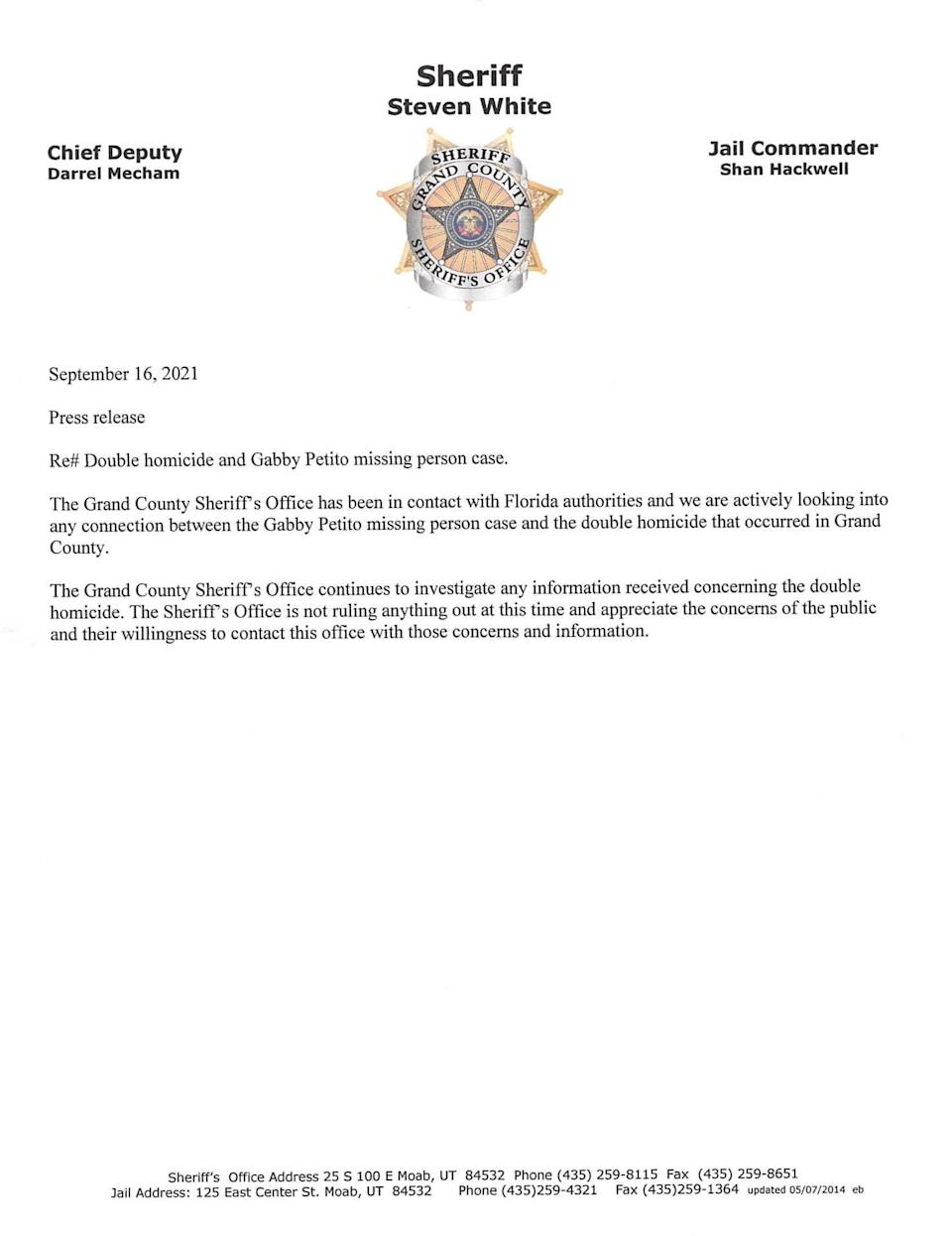 """Police in Grand County, Utah have said in a statement that they're looking for """"any connection"""" between the disappearance of Gabby Petito and the fatal shooting of Kylen Schulte and Crystal Turner (Grand County Sheriff's Office)"""