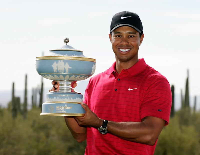MARANA, ARIZONA - FEBRUARY 24: Tiger Woods holds the Walter Hagen Cup after winning the Championship match of the WGC-Accenture Match Play Championship at The Gallery at Dove Mountain on February 24, 2008 in Marana, Arizona. (Photo by Stan Badz/US PGA TOUR)