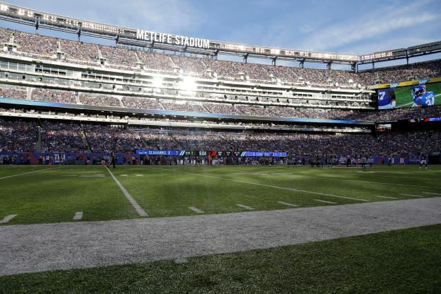 FILE - In this Oct. 22, 2017, file photo, MetLife Stadium is viewed during the first half of an NFL football game between the New York Giants and the Seattle Seahawks in East Rutherford, N.J. FIFA inspectors begin evaluating Mexicos suitability to stage World Cup matches in 2026 on Monday, April 9, 2018, after a study commissioned for the North American bid highlighted concerns about violent attacks on female fans, human rights activists and reporters in the country. Mexico City is the first stop on a five-day trip by the FIFA task force, which also will visit Atlanta, Toronto and the New York metropolitan area, where the bid committee proposed the 2026 final be held at the East Rutherford stadium. (AP Photo/Julio Cortez, File)
