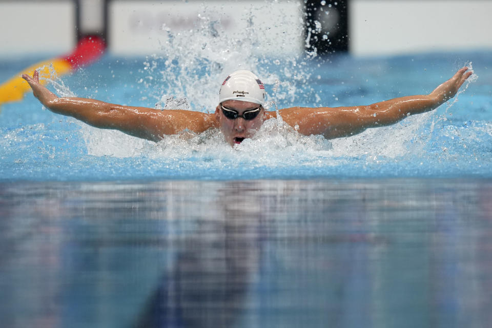 Chase Kalisz, of the United States, swims during a heat for the men's 400-meter individual medley at the 2020 Summer Olympics, Saturday, July 24, 2021, in Tokyo, Japan. (AP Photo/Matthias Schrader)