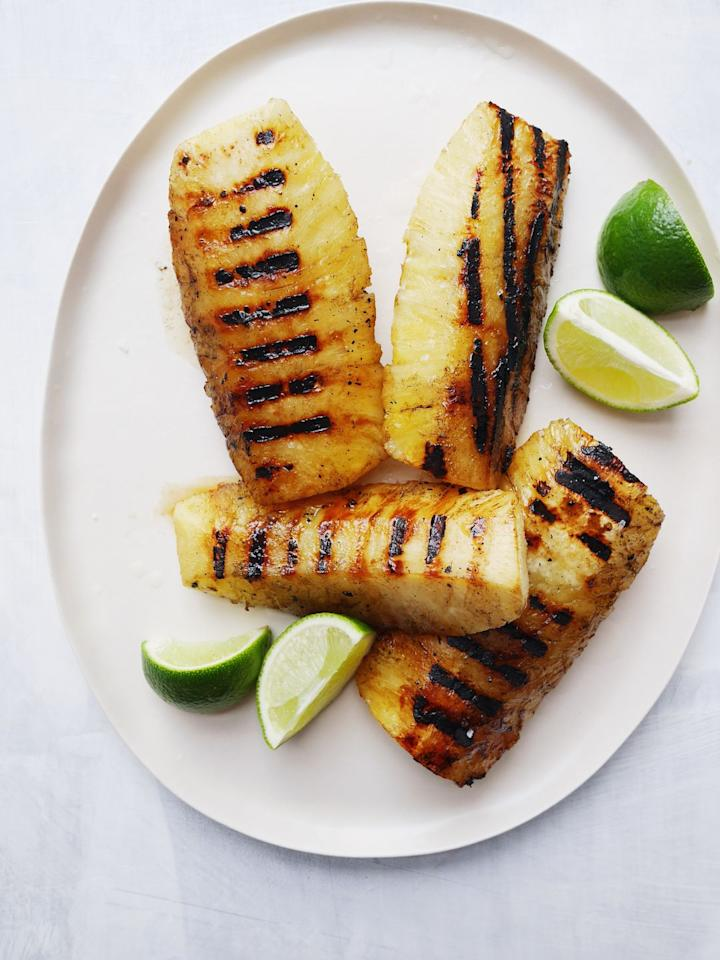 "<p>When you grill pineapple, alll the yummy juices start to come out and caramelize.</p><p>Get the recipe from <a href=""https://www.delish.com/cooking/recipe-ideas/a21087433/grilled-pineapple-recipe/"" target=""_blank"">Delish</a>.<br></p>"