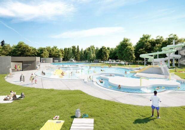 The artist rendering of Wascana Pool shows a lazy river, waterslide and kids area.  (City of Regina/Facebook - image credit)
