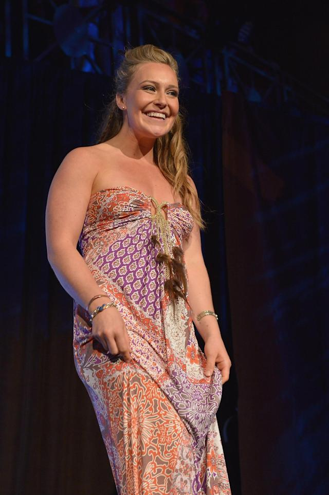 NEW YORK, NY - OCTOBER 16: Professional snowboarder Jamie Anderson onstage during the 34th annual Salute to Women In Sports Awards at Cipriani, Wall Street on October 16, 2013 in New York City. (Photo by Mike Coppola/Getty Images for the Women's Sports Foundation)