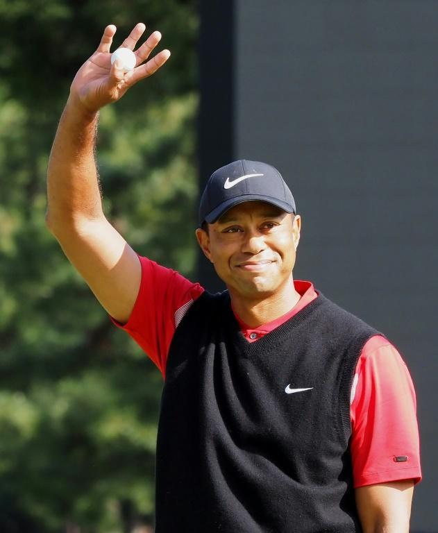 Tiger Woods acknowledges fans after winning his 82nd PGA Tour title at the Zozo Championship in Japan last year