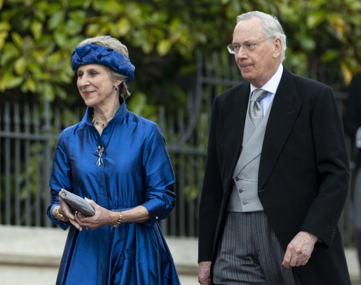 WINDSOR, ENGLAND - MAY 18: Birgitte, Duchess of Gloucester and Prince Richard, Duke of Gloucester attend the wedding of Lady Gabriella Windsor and Mr Thomas Kingston at St George's Chapel, Windsor Castle on May 18, 2019 in Windsor, England. (Photo by Mark Cuthbert/UK Press via Getty Images)
