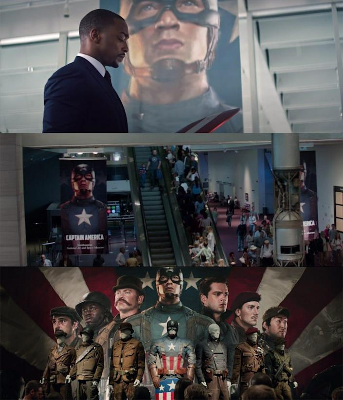 the falcon and the winter soldier 101 detail sam cap banner smithsonian winter soldier callback