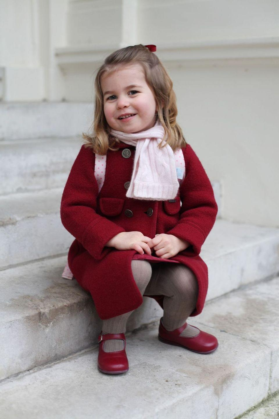<p>Kate also took a picture of Charlotte sitting on the steps, already wearing her backpack, ready to kick off the school year.</p>