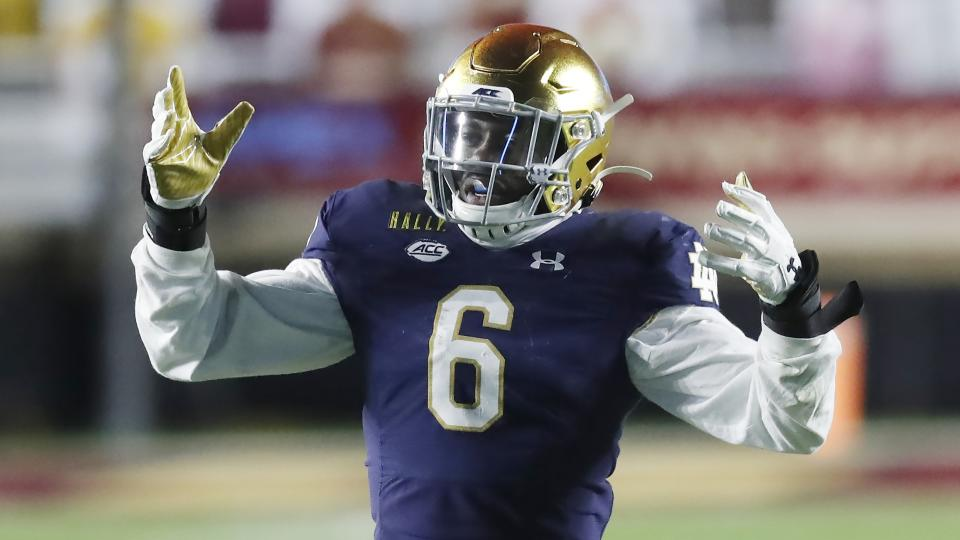Notre Dame linebacker Jeremiah Owusu-Koramoah handled a lot of roles for the Irish. (AP Photo/Michael Dwyer)