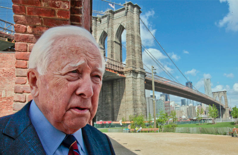"""In this May 10, 2012 photo, author David McCullough, two-time Pulitzer Prize winner for books """"Truman"""" and """"John Adams,"""" walks around the Brooklyn Bridge while being interviewed in New York. McCullough is celebrating the 40th anniversary of his book """"The Great Bridge,"""" which has just been reissued with a new introduction by the 78-year-old writer. (AP Photo/Bebeto Matthews)"""