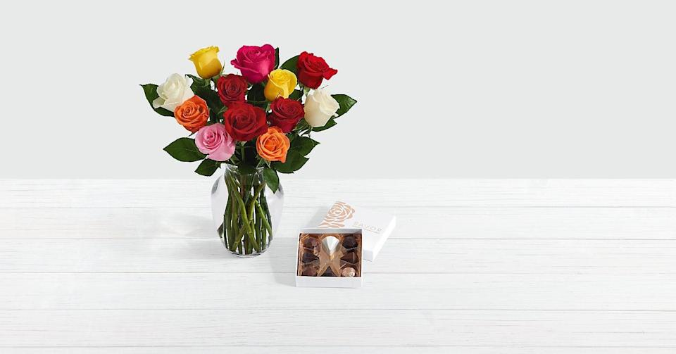 """<p>Your mom will be overjoyed with happiness gazing at this bouquet of <a href=""""https://www.popsugar.com/buy/One-Dozen-Assorted-Roses-569152?p_name=One%20Dozen%20Assorted%20Roses&retailer=proflowers.com&pid=569152&price=40&evar1=casa%3Aus&evar9=46127505&evar98=https%3A%2F%2Fwww.popsugar.com%2Fhome%2Fphoto-gallery%2F46127505%2Fimage%2F46128440%2FOne-Dozen-Assorted-Roses&list1=shopping%2Cgift%20guide%2Cflowers%2Chouse%20plants%2Cplants%2Cmothers%20day%2Cgifts%20for%20women&prop13=api&pdata=1"""" class=""""link rapid-noclick-resp"""" rel=""""nofollow noopener"""" target=""""_blank"""" data-ylk=""""slk:One Dozen Assorted Roses"""">One Dozen Assorted Roses</a> ($40). It comes with a glass vase and box of chocolates, too! </p>"""