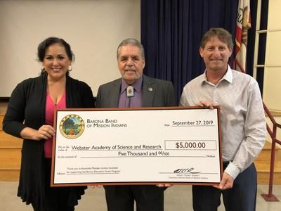 California State Assembly woman Lorena Gonzalez and Barona Band of Mission Indians Tribal Chairman Romero present the $5,000 Barona Education Grant check to Webster Elementary School Principal Carmi Strom.