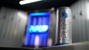 PURE Energy Drink is made with 90 percent natural spring water, which makes it a healthier alternative to other energy drinks on the market,