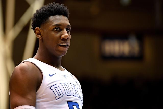 Drafting R.J. Barrett could be the difference in trading for Anthony Davis or attracting a premium free agent. (Getty)