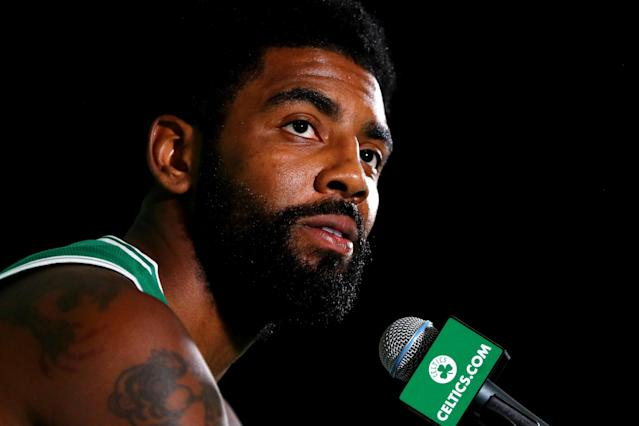 "<a class=""link rapid-noclick-resp"" href=""/nba/players/4840/"" data-ylk=""slk:Kyrie Irving"">Kyrie Irving</a> gave a strong endorsement for remaining in Boston long-term, but is that something we should take seriously? (Getty)"
