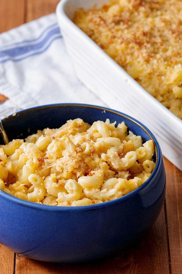 "<p>This mac couldn't be more classic. </p><p>Get the <a href=""https://www.delish.com/uk/cooking/recipes/a28830973/3-cheese-mac-recipe/"" target=""_blank"">Three Cheese Mac & Cheese</a> recipe.</p>"